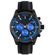 Blue six hands sport style business men watch silicone band round case well watch