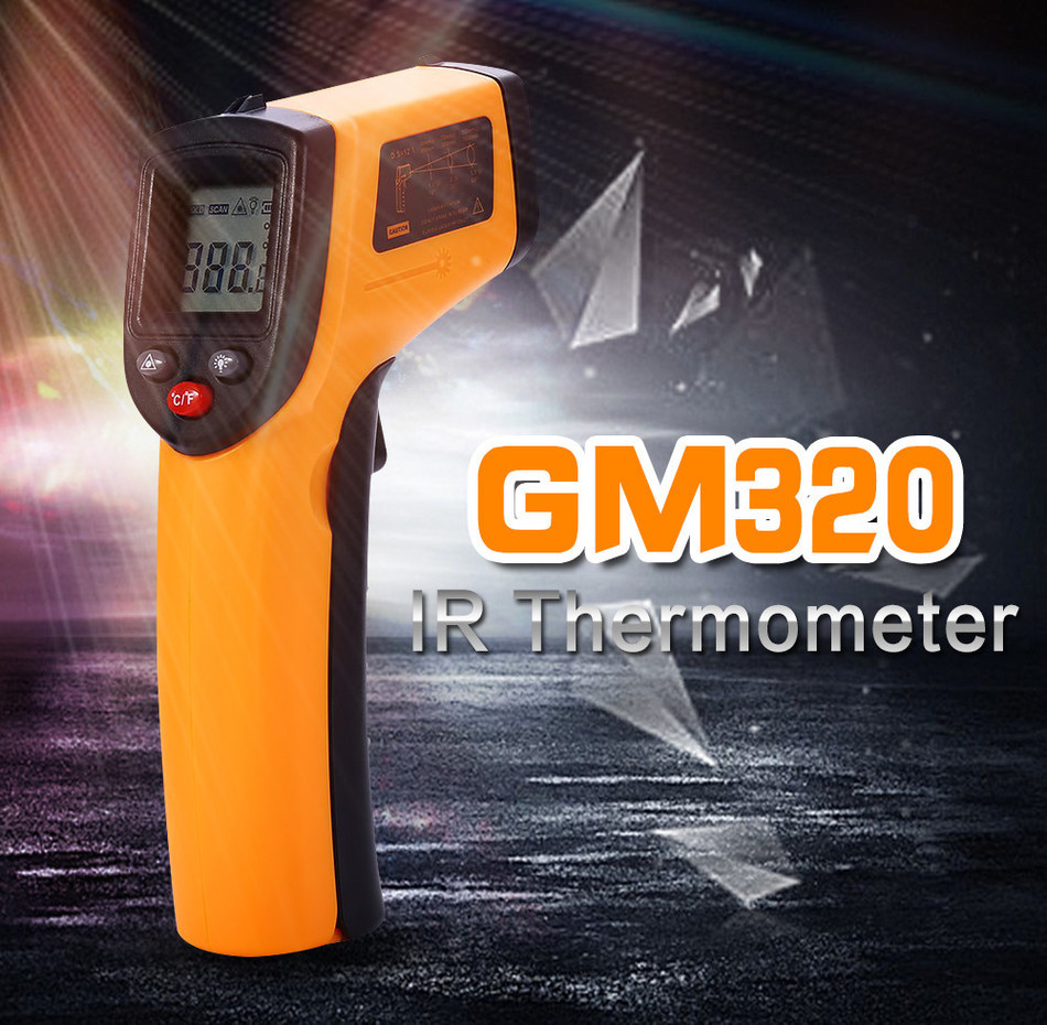 Digital GM320 Laser LCD Display Non-Contact IR Infrared Thermometer -50 to 380 C Auto Temperature Meter Sensor Gun <strong>Point</strong>