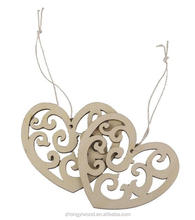 FSC BSCI SA8000 personalized Heart Shaped Wooden Hanging Ornament Decoration with String