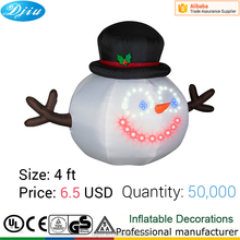 Little mini Snowman Inflatable Christmas decoration with black hat