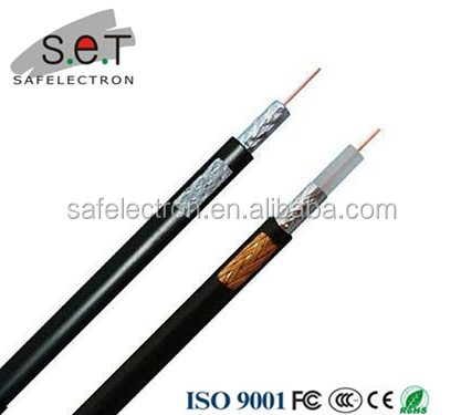Black Single 0.65mm Copper RG59 CCTV Cable With Solid PE & CCA Braid