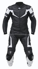 High Leather Motorbike Suit with Complete Back Armour