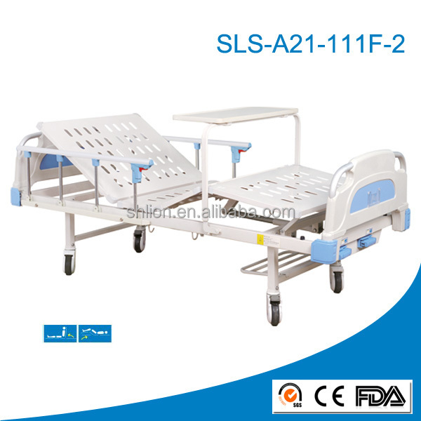 2 cranks manual hospital bed, hospital bed with potty-hole,hospital bed manufacturer