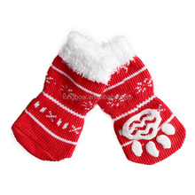 New Year Pet Gift Red Warm rubber socks for dogs Christmas Socks