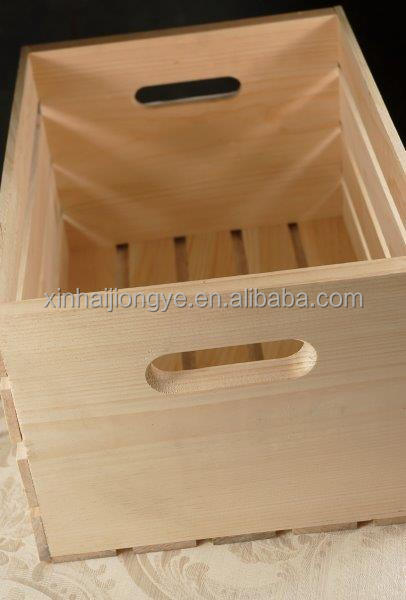 Customized Natural Wood Wooden Crate Hollow Out Box