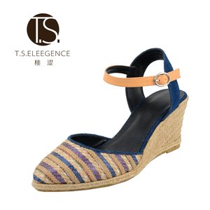 Gold Supplier High quality Durable Using European Size Women Raffia Stripe Platform Wedge Various Long Heel Sandals