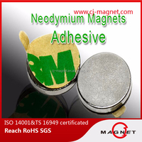 N48 disc neodymium magnet with adhesive on one side