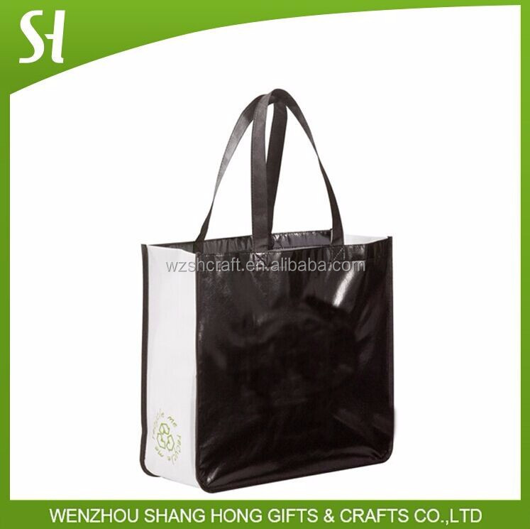 recyclable non woven bag lamination shopping bag glossy laminated tote bag