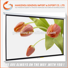 2015 GENZHOU Matte White Home Wide Cinema wall-mounted projector screens / ceiling Manual Projection Screen