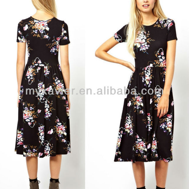Midi Skater Dress Clothing In Vintage Tapestry Floral (M6137)