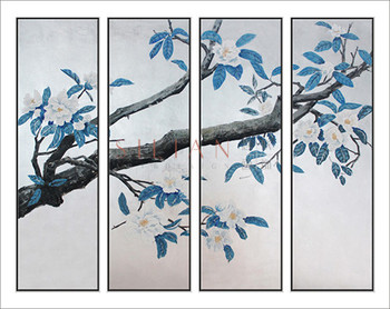 2017 chinoiserie oil paintings plant and birds