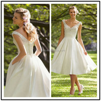V Neck Satin A Line Custom Made Short Formal Bridal Dress Vestidos De Novia SW010 tea length wedding dress pattern