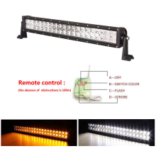 Dual color strobe amber led light bar,amber led offroad light bar with 12v wireless remote control switch