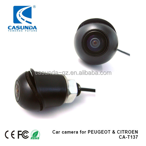 120 degree horizontal IR car rear camera for PEUGEOT 308, small black back view camera with diameter 21mm