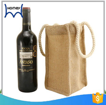 Wholesale customised jute gifts wine carrying tote bag