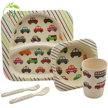 Promotional Style 5 Piece Eco-Friendly Bamboo Fiber Kids Dinnerware Set