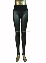 pregnant woman leggings faux leather cotton maternity high-waist pants