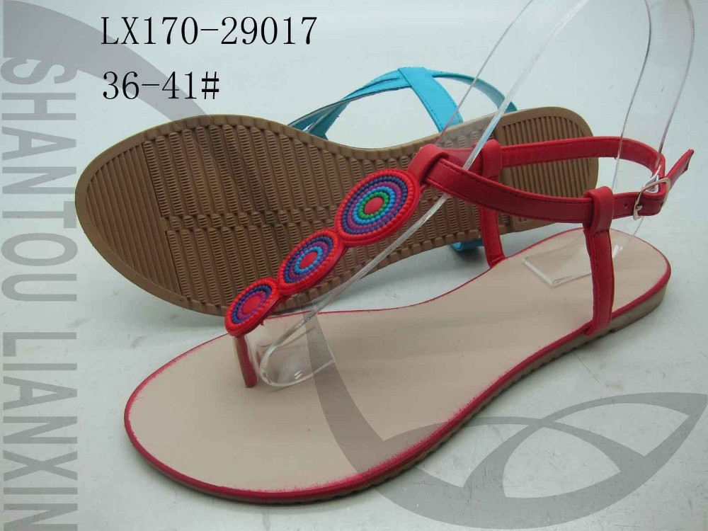 SUMMER WOMEN SANDALS FLAT LADIES SANDAL WITH RUBBER TRIM