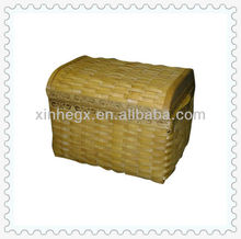 wooden basket with lid
