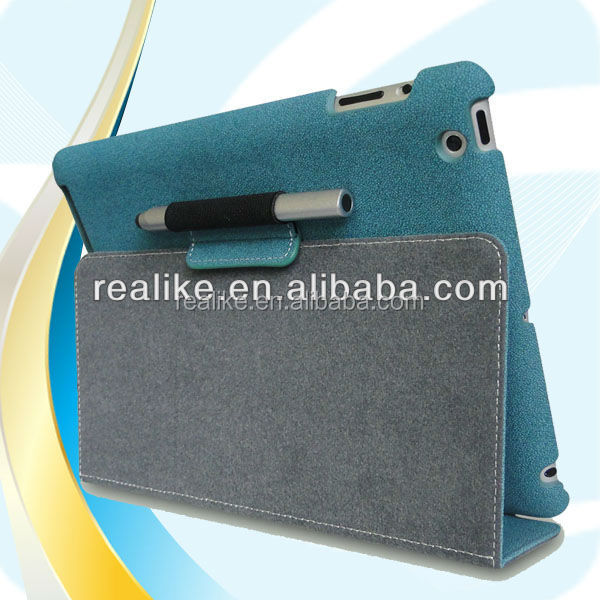 buckle suede leather smart flip + sleep wake cover stand case for ipad 4 & 3