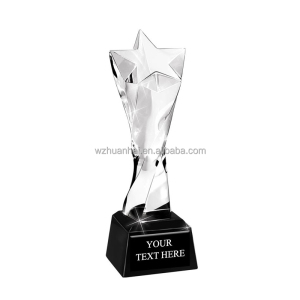 wholesale free logo star glass crystal trophy