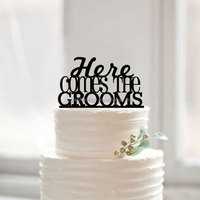 "China wholesale ""here comes the grooms"" same sex cake topper gay wedding cake toppers"