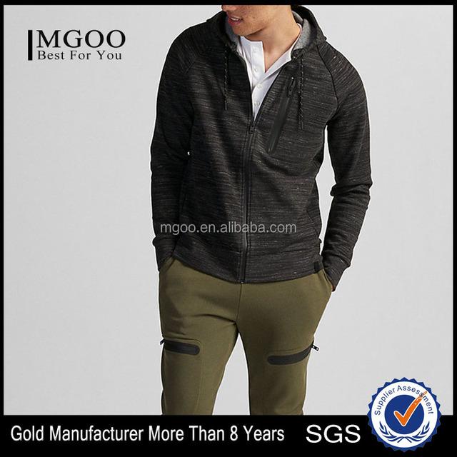 MGOO OEM Service Men Full Drawstring Zip Hoodie Fleece Athletic Coat With Chest Pocket