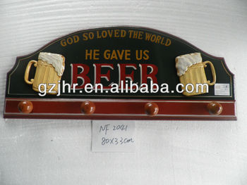 Manufacturer MDF beer sign wall plaue with hooks