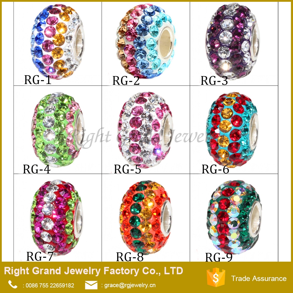 Fashion Mixed Colors Crystal Paved European Style Big Hole Loose Beads