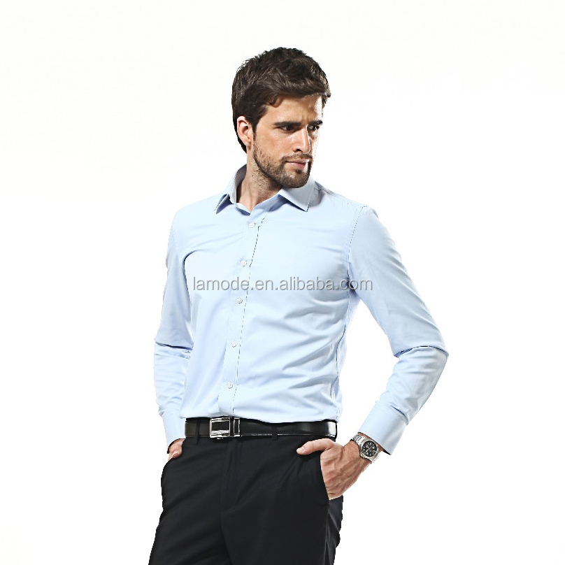 100%cotton men 's long sleeve kent collar solid color mens slim fit dress shirts