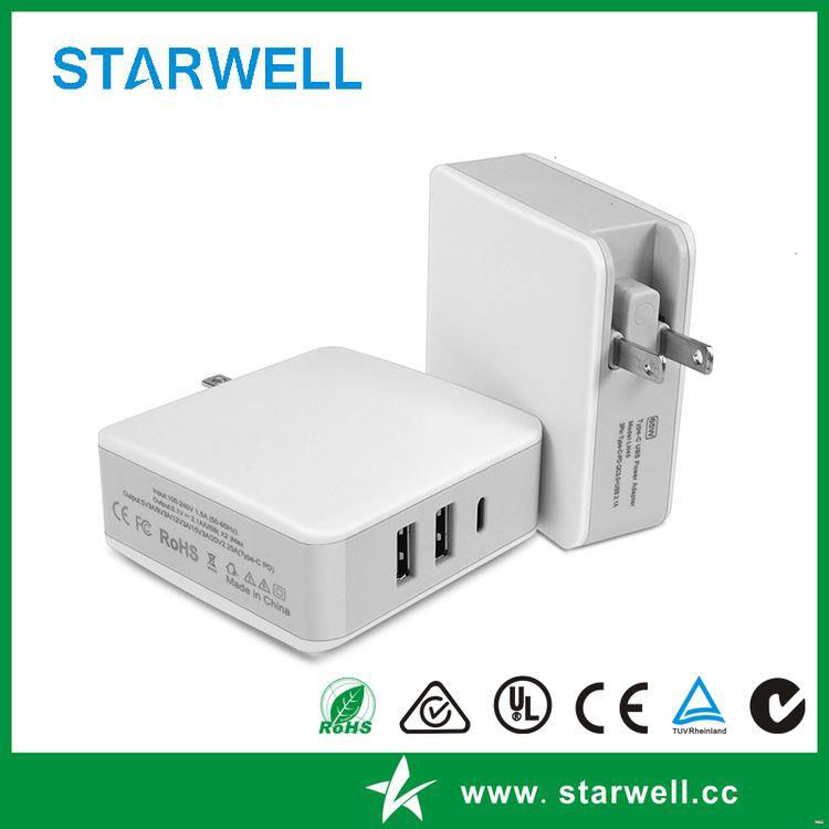 Top level multiple type c qc travel charger