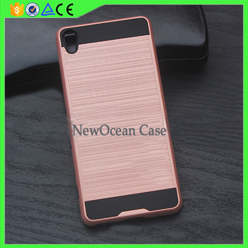 High quality Metal feel Hard PC Soft TPU Hybrid cell phone case for Sony E5 phone cover