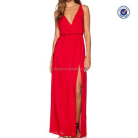 2016 deep V neck split sleeveless latest fashion long red maxi party dress