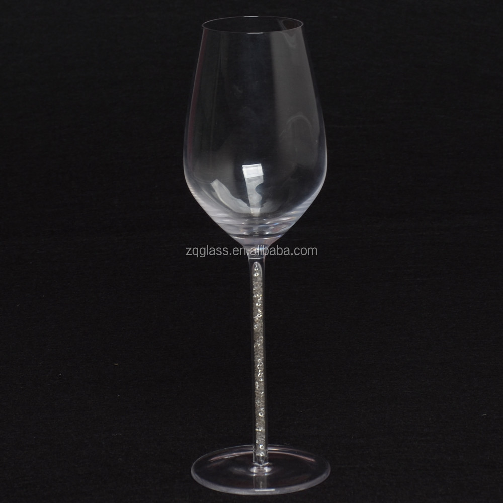 Customized Lead Free Decorated Color Rhinestones Crystal Wine Glasses Glass