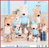 Blue T-shirt rabbit family soft plush toys