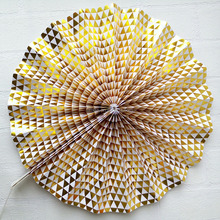 New design 120g craft gold foil paper fans pinwheel flowers decrate your nursery wedding paper art party events