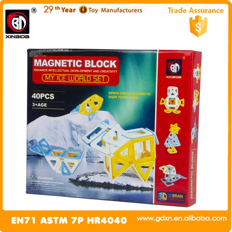 Plastic building block magnetic tiles children learning toy