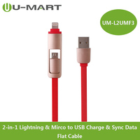 Cable Manufactory 2-in-1USB 8pin & Mirco to USB Charge & Sync Data Flat Cable for iphone /ipad mini etc