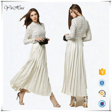 2016 new design pleat lady frock white long dress