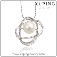 32119-xuping fashion jewellery statement pearl pendant necklace