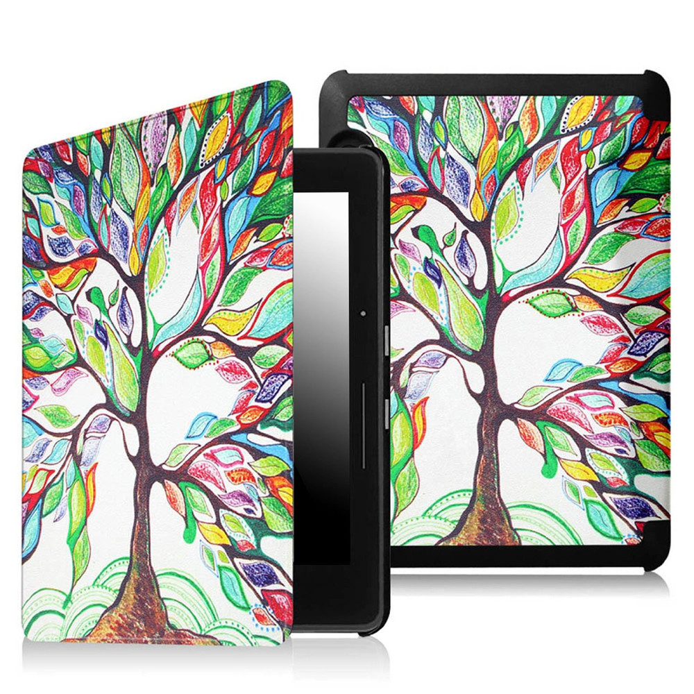 Protective PU Leather Cover with Auto Sleep and Wake for Amazon Kindle Voyage 2014 released with Love Tree design