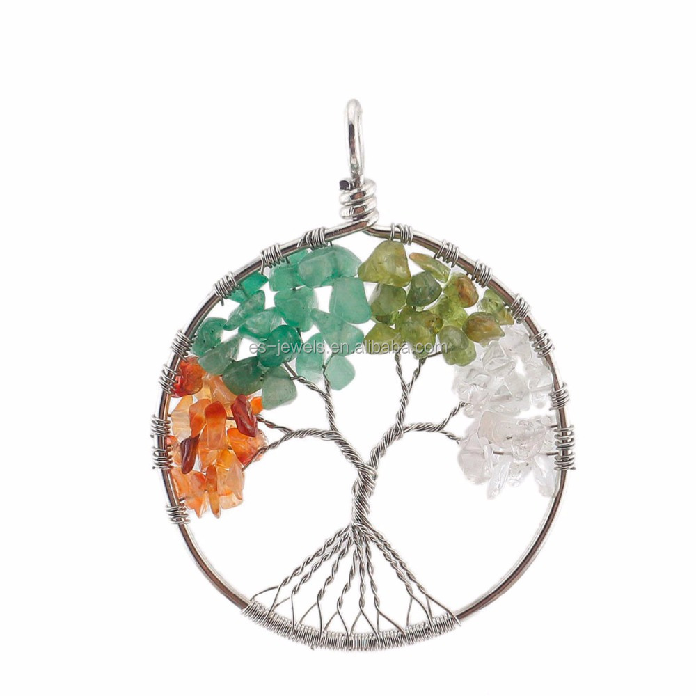 Gemstone Pendant Crystal Jade Tree of Life Pendant Necklace with Stainless Steel Chain