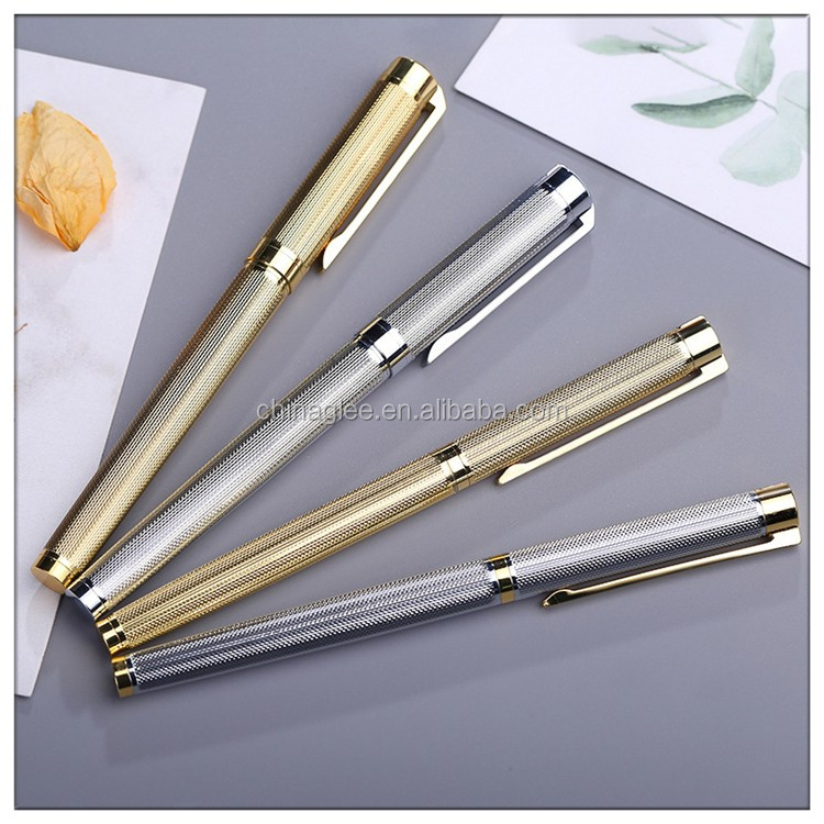 Certificated luxury colors engraved stainless roller ball carved designs metal pen