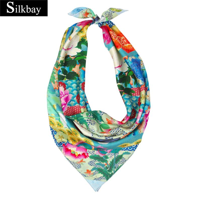 Custom printed 100% silk scarves for women