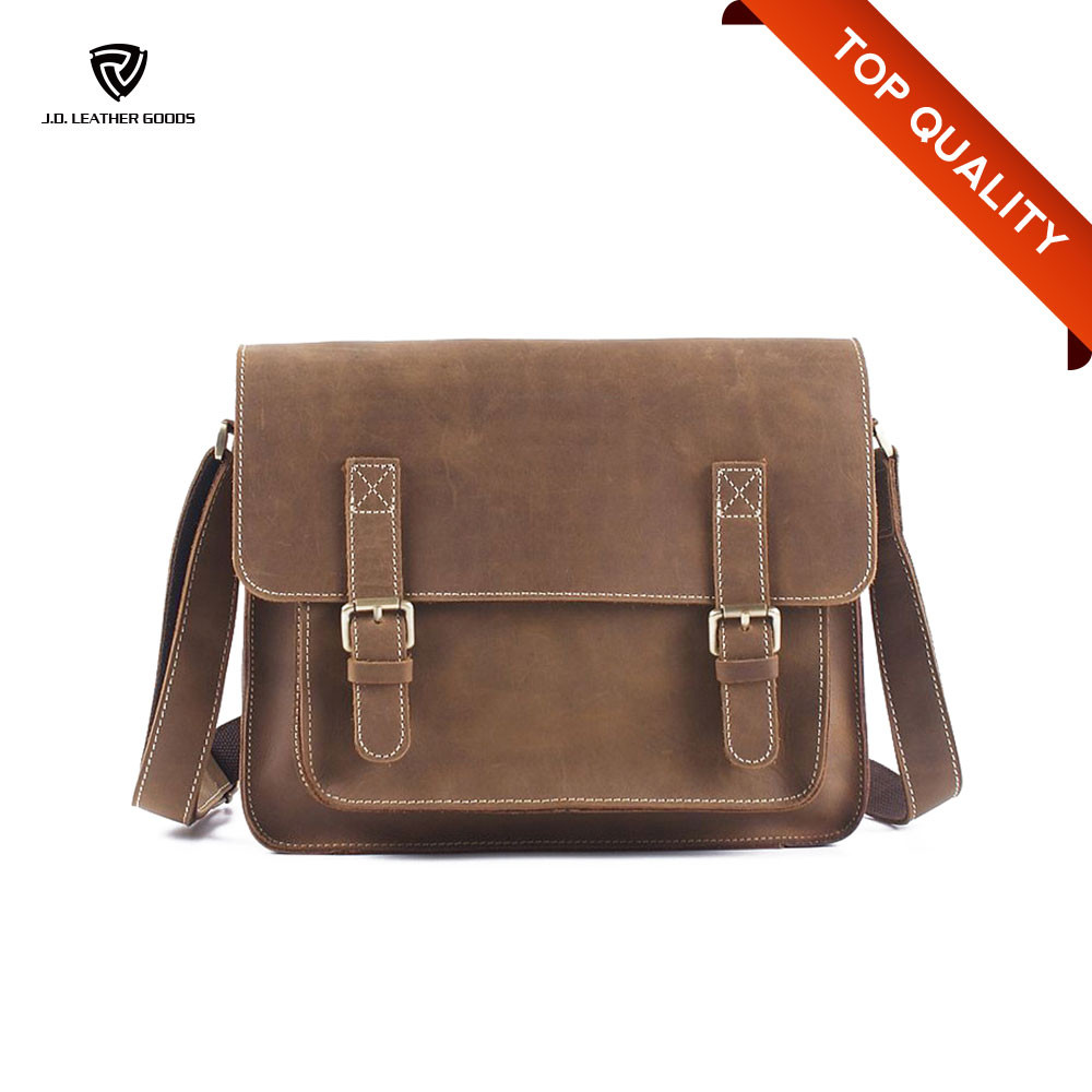 Wholesale Crazy Horse Leather Custom Messenger Bag/Leather Messenger Bag Men
