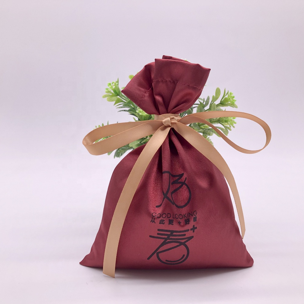 Wine Cosmetic Satin Gift Bag With Ribbon