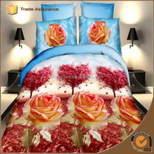 New Design Elegant Flower Printing Colorful Magic High Quality 3d bed sheet/3d bed cover set/bedsheet
