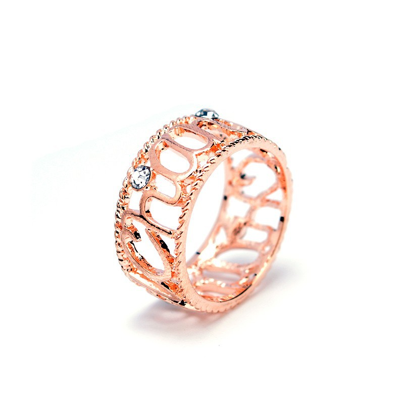 Korean Wedding Anniversary Gift CZ Hollow Love Finger Ring Exquisite Rose Gold And Platinum Plated Ring