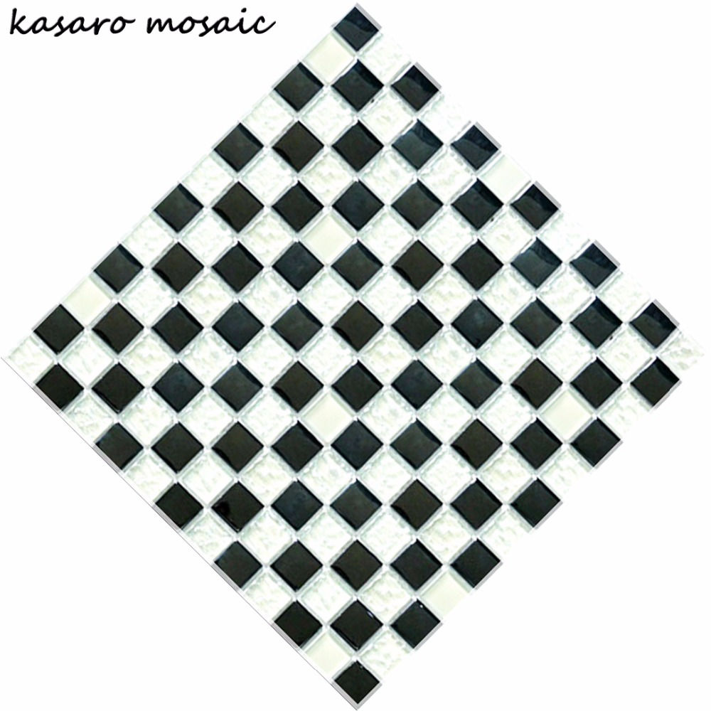 Crystal mosaic black and white pattern, black white glass mosaic, black and white glass mosaic tile KY-ZR2013221