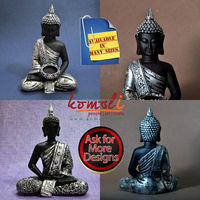 Large poly resin meditating Buddha statues with t-lite holder
